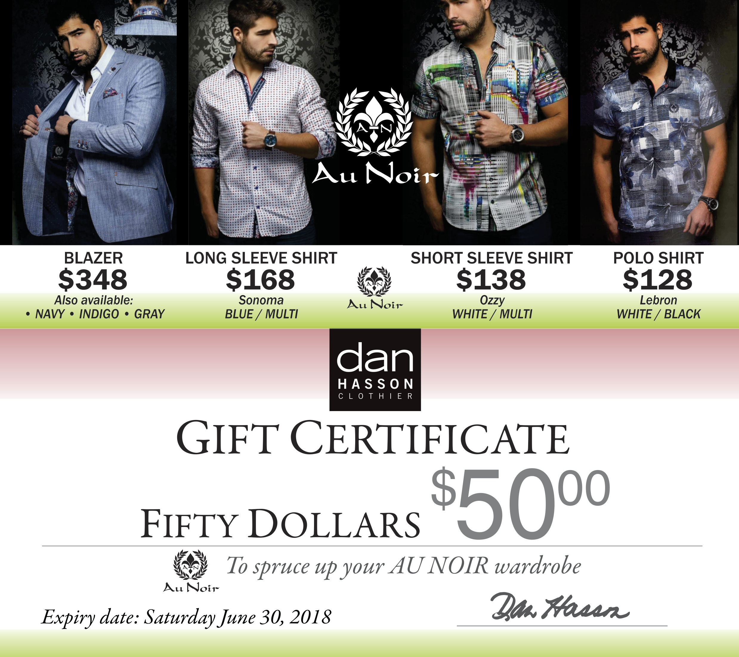 Dan Hasson AuNoir gift certificates May 2018