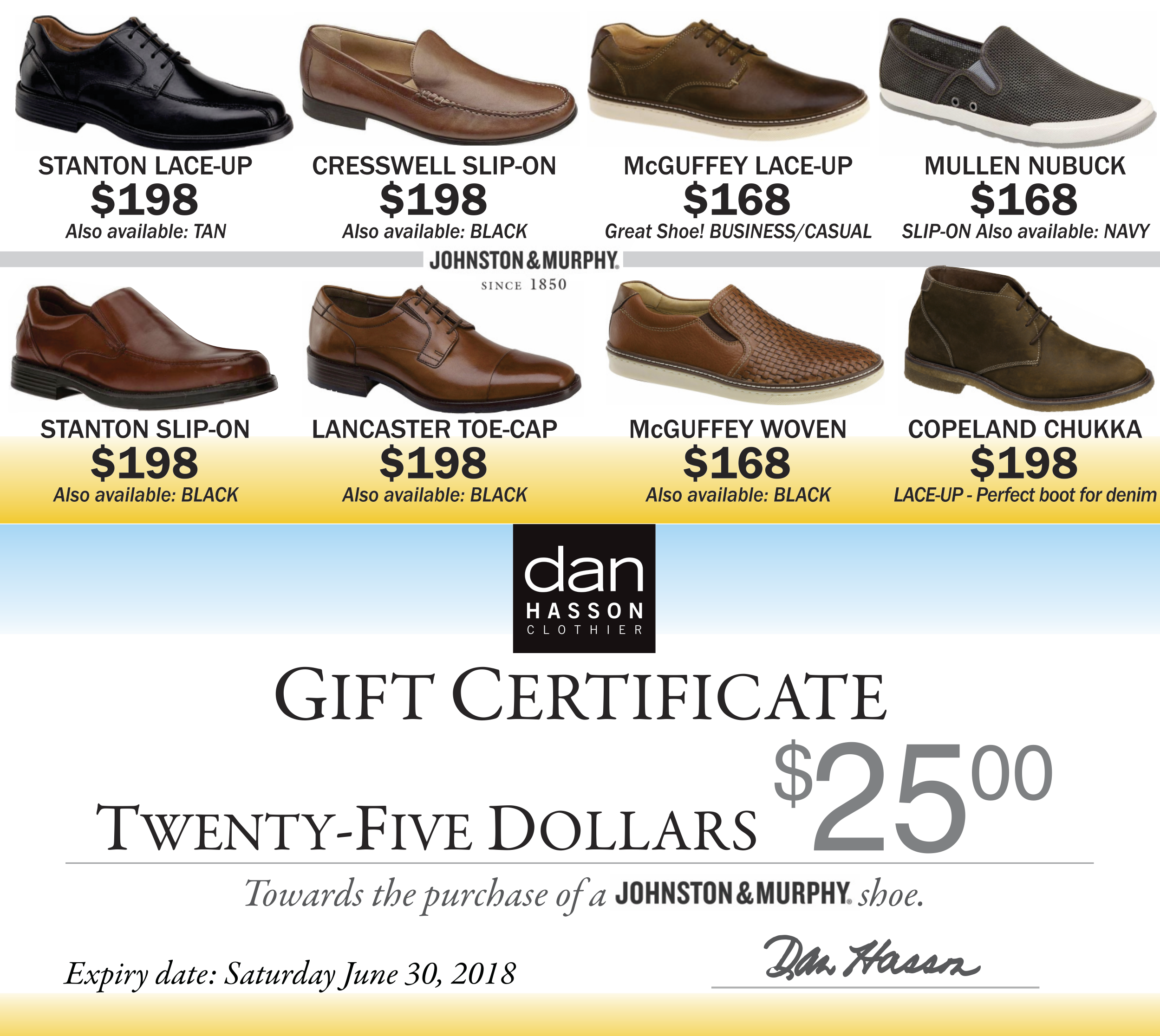 Dan Hasson shoes gift certificates May 2018